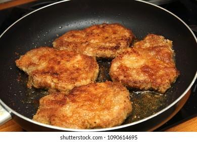 Schnitzel in a pan