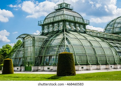 Schoenbrunn palace - former imperial summer residence, built and remodelled during reign of Empress Maria Theresa from 1743. Palm House in former Dutch Garden, was erected in 1881. Vienna, Austria.