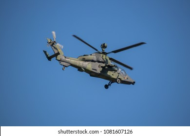 SCHOENEFELD, GERMANY - APRIL 25: A Eurocopter Tiger attack helicopter of the Bundeswehr flies at the ILA Berlin Air Show on April 29, 2018 in Schoenefeld, Germany. ILA Berlin is Europe's third largest