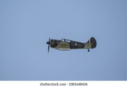 SCHOENEFELD, GERMANY - April 29. 2018: Commonwealth CA-13 Boomerang very rare historical ww2 fighter plane performs at the ILA Berlin Air Show 2018.