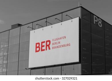 Schoenefeld, Germany - August 21, 2015: Construction at Berlin Brandenburg Airport (BER)