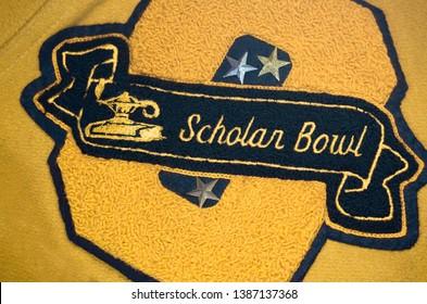 Scholar Bowl Patch on a High School Letterman's Jacket