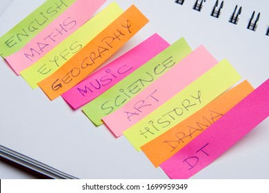 Scholar subjects written on coloured notes