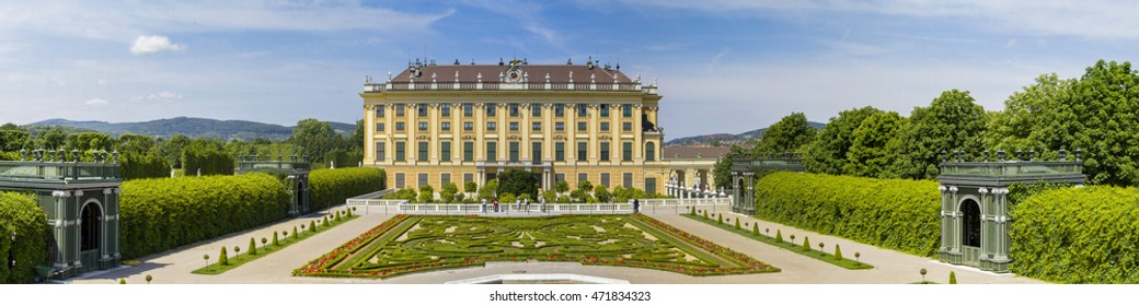 Schonbrunn Palace and garden panorama. Photo taken in Vienna, Austria - May 31, 2015