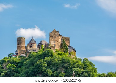 Schonburg Castle at Rhine Valley (Rhine Gorge) near Oberwesel, Germany. Built some time between 1100 and 1149.