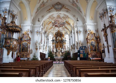 SCHONGAU, BAVARIA, GERMANY - DECEMBER 21, 2012:The interior of the Parish Church of the assumption of Mary in Schongau, Germany Bavaria
