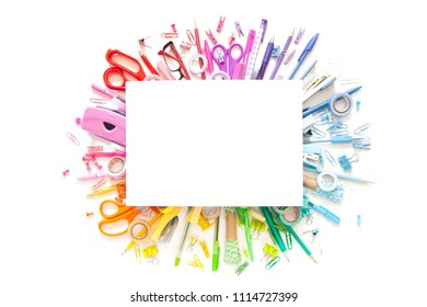 School accessories are laid out in the form of a rainbow. Line, row on a white background.