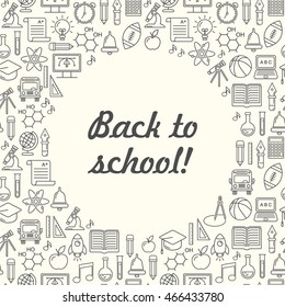 School background, black on white. Education pattern with modern line style icons.