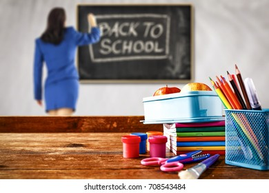 school background of free space and woman in blue clothes