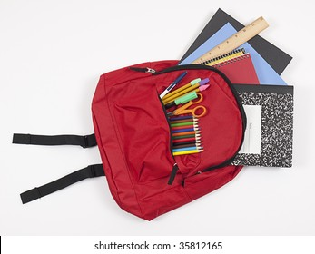 School backpack with back-to-school supplies