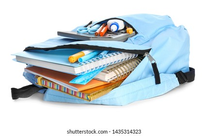 School backpack with stationery on white background