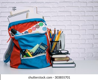 School backpack and school supplies. Time to study