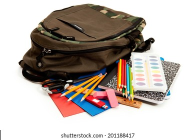 School: Backpack Surrounded By School Supplies