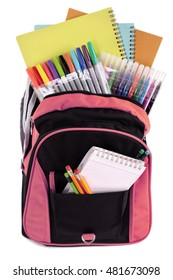 School bag backpack filled with books and pencils