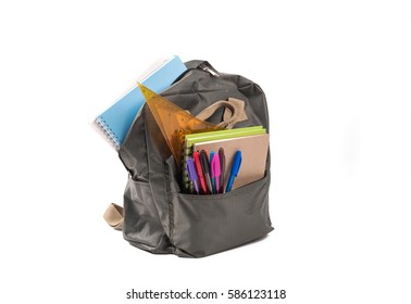 School  bags on white background.