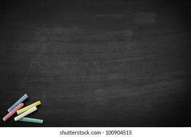 School blackboard or chalkboard with chalk