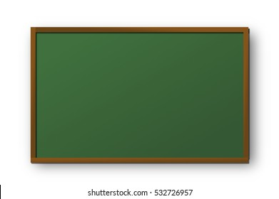 school blackboard with wooden frame on white background