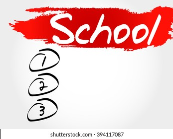 School blank list, education concept