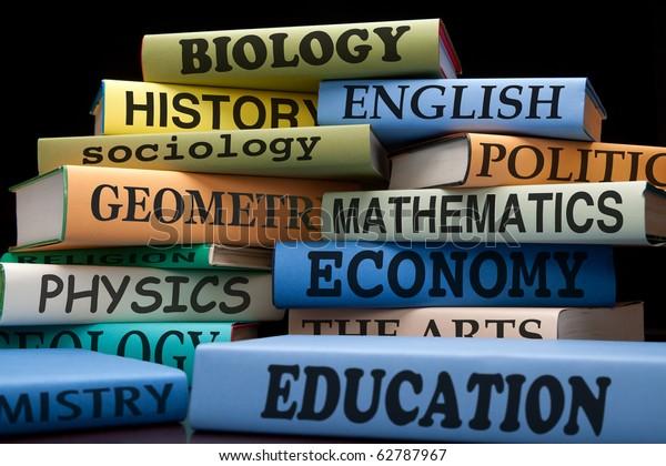 School Books On Stack Educational Textbooks Stock Photo