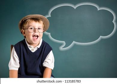 school boy with word bubble