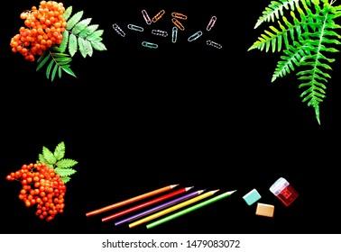 school bright supplies on a black background.