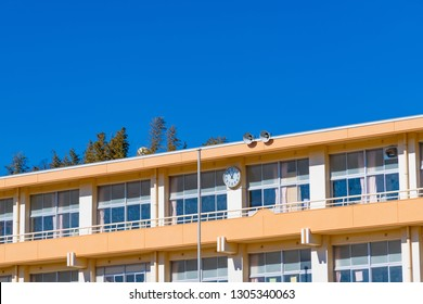 School building and blue sky