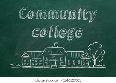 School building  and lettering Community college on blackboard. Hand drawn sketch.