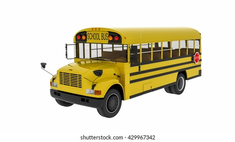 School bus, 3D illustration of transportation vehicle isolated on white background