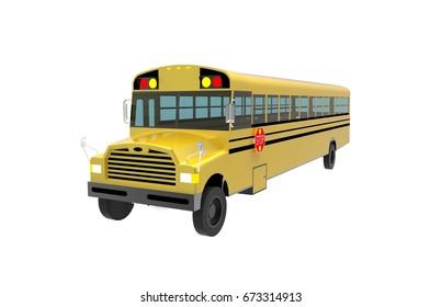 School bus 3D rendering