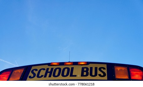 School bus blue sky
