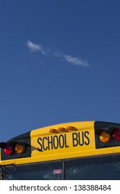 School bus and blue sky, Stowe, Vermont, USA