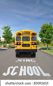 School Bus and Crossing Sign on Suburban Neighborhood Street on Sunny Day