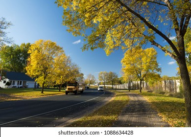School bus in fall foliage