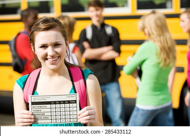 School Bus: Girl Student Has Great Report Card
