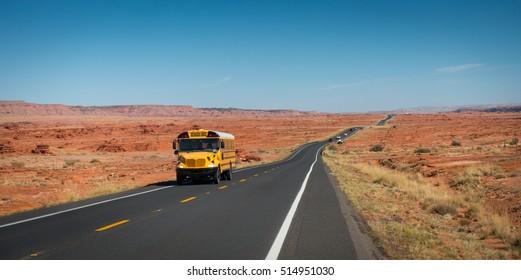 School bus on highway 89, Gray Mountain, Arizona, USA