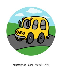 School bus on road illustration