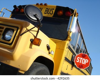 School bus with Stop sign out