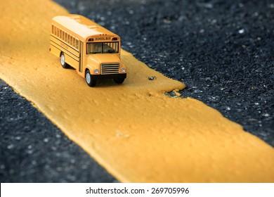 School bus toy model.