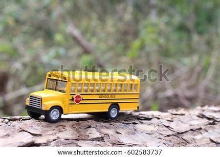School Bus Tree Trunk Nature Stock Photo (Edit Now