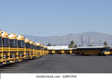 School buses waiting for deployment
