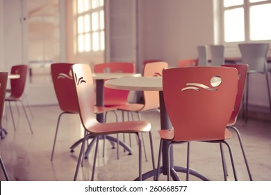 School cafeteria.High school canteen.Lunch room.Colorful bright cafe.