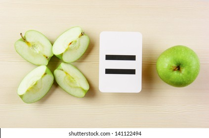 School card and apple with math problems