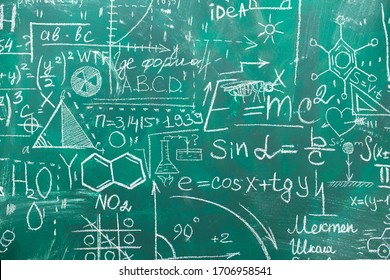 School chalk board is painted with different formulas and signs from the school curriculum. A green blackboard is drawn in chalk as a background. The concept of knowledge and learning. long banner.