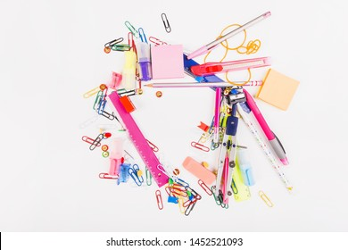 School stationeryplaced in chaotic manner