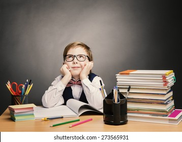 School Child Boy in Glasses Think in Classroom, Kid Primary Students Reading Book, Pupil Learn Lesson and Dream, Education Concept