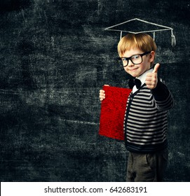 School Child Education Book, Kid in Glasses With Certificate, Graduation Hat on Blackboard Background, Thumb Up