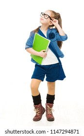 School Child, Girl in Glasses Holding Books and Looking Up, Happy Kid Isolated over White Background
