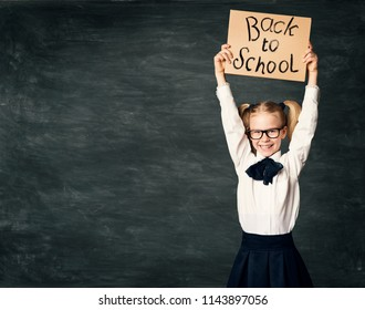 School Child over Blackboard Background, Girl in Glasses Advertise Back to School Board, Kid in Classroom over Chalkboard
