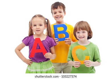 School children with abc letters - ready to learn, isolated