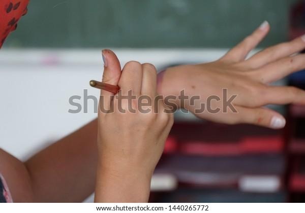 School Children Body Art Painting Creative Stock Photo Edit Now 1440265772
